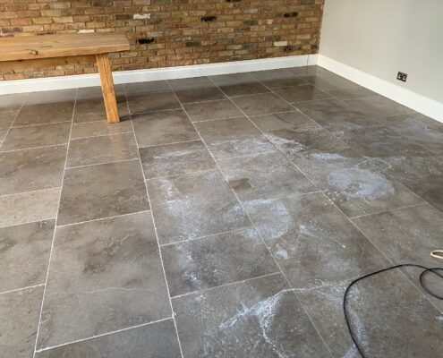 Limestone floor cleaning, polishing and sealing in Knowle, Solihull, West Midlands, before