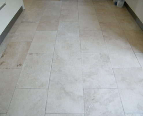 Limestone floor in Bakewell Derbyshire before cleaning