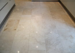 Limestone kitchen floor in Bakewell Derbyshire after cleaning, polishing and seasling.