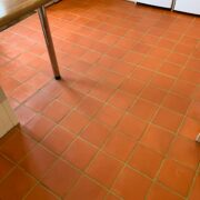 Quarry tile floor and grout cleaning, stripping and sealing In Bournemouth, Dorset, after