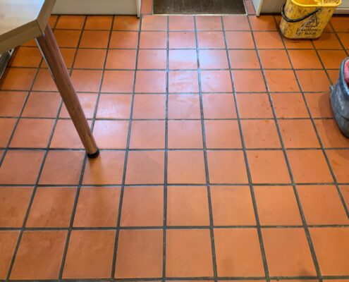 Quarry tile floor and grout cleaning, stripping and sealing In Bournemouth, Dorset, before