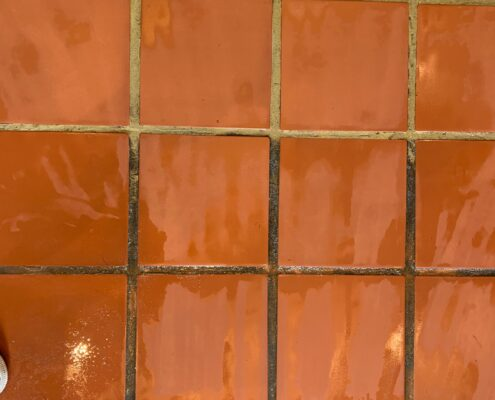 Quarry tile floor and grout cleaning, stripping and sealing In Bournemouth, Dorset, during