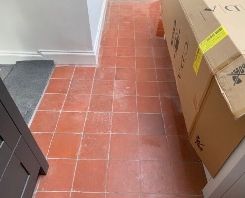Quarry tile floor cleaning, sealing and polishing in Portishead, Bristol before