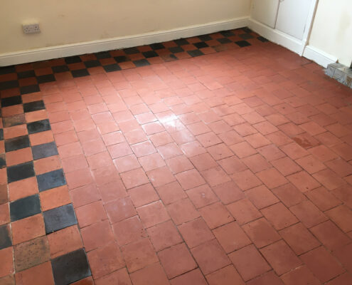Quarry tiled floor cleaning and sealing in Sudbury near Ashbourne, Derbyshire - after