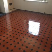 Quarry tiled floor in Belper Derbyshire after cleaning and sealing