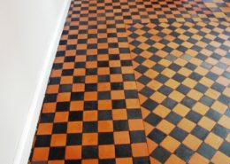 Quarry tiled floor in Matlock Derbyshire sfter cleaning and sealing