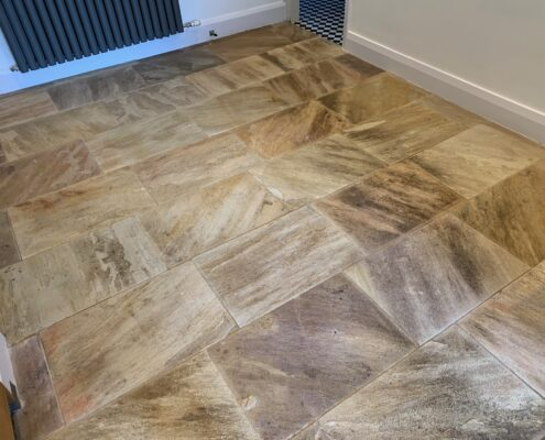 Sandstone floor and grout cleaning and sealing in Marlborough, Wiltshire, after