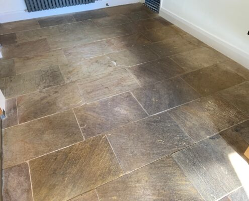 Sandstone floor and grout cleaning and sealing in Marlborough, Wiltshire, before