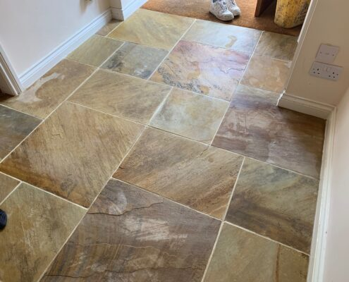 Sandstone floor and grout cleaning and sealing in Willoughby, Warwickshire, after