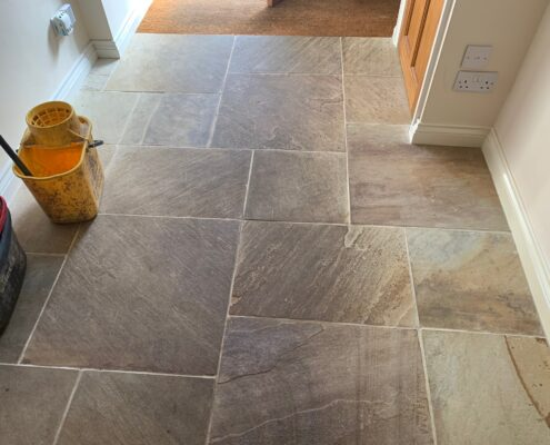 Sandstone floor and grout cleaning and sealing in Willoughby, Warwickshire, before