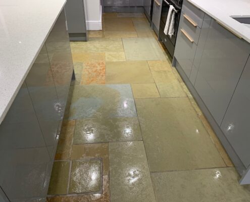 Sandstone floor cleaning, sealing and polishing in Solihull, West Midlands, after