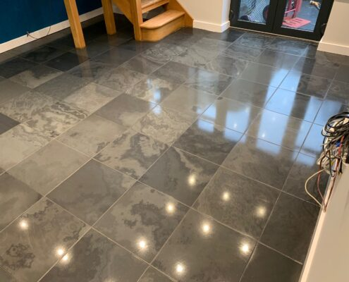 Slate floor cleaning, Sealing and Polishing in Kenilworth, Warwickshire after
