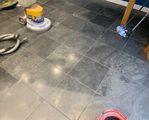 Slate floor cleaning, Sealing and Polishing in Kenilworth, Warwickshire before