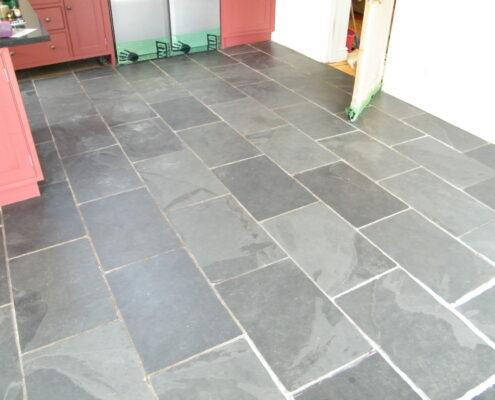 Slate floor cleaning in Abbots Bromley Near Rugeley, Staffordshire - before
