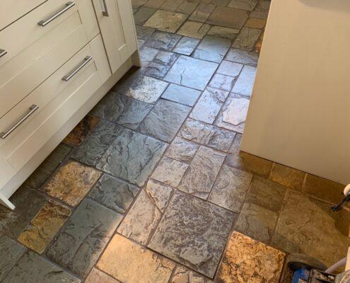 Slate floor cleaning, sealing and polishing in Dorridge, Solihull, West Midlands, before