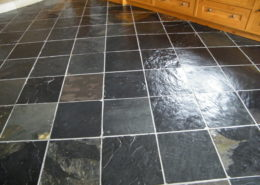 Slate floor in Ashbourne Derbyshire after cleaning and sealing