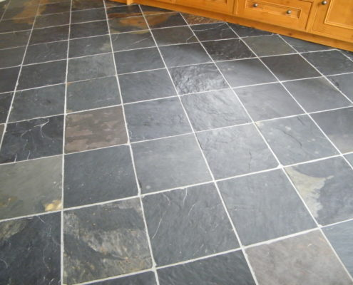 Slate floor in Ashbourne Derbyshire before cleaning