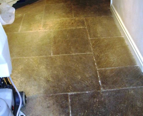 Stone floor before cleaning in Stafford Staffordshire