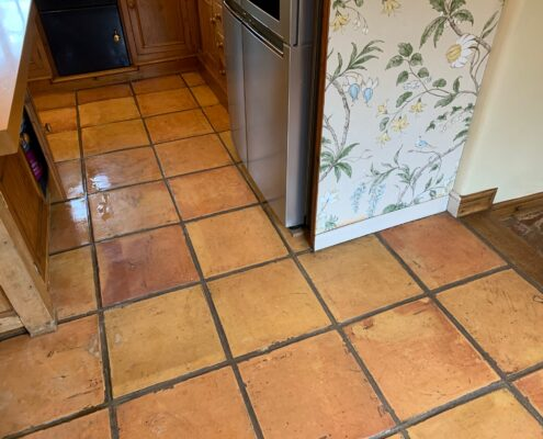 Terracotta floor and grout cleaning, Dorridge, Solihull, West Midlands, before