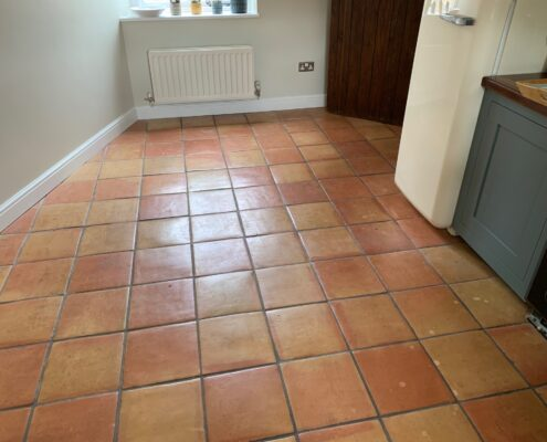 Terracotta floor and grout cleaning, sealing and polishing in Birmingham, West Midlands, before