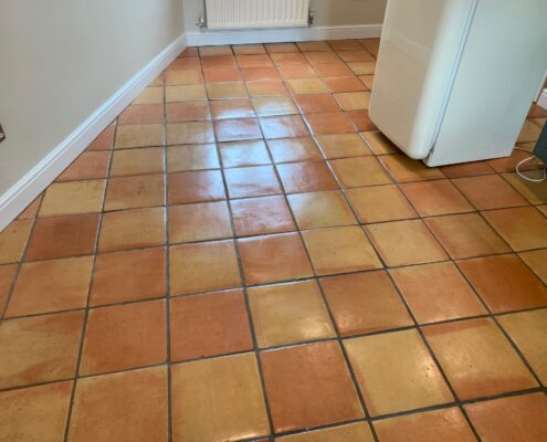 Terracotta floor and grout cleaning, sealing and polishing in Birmingham, West Midlands, after