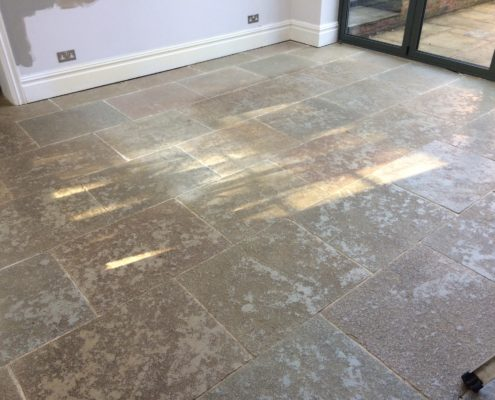 Textured Limestone floor in Penkridge Staffordshire before cleaning