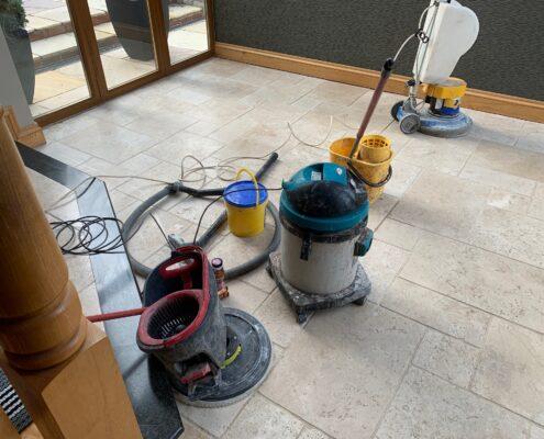 Travertine Floors Cleaned and Polished in Corntown, Bridgend, Vale of Glamorgan, Wales, before