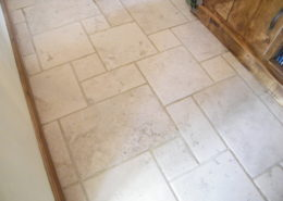Travertine hall floor in Cannock Staffordshire after cleaning and matt sealing