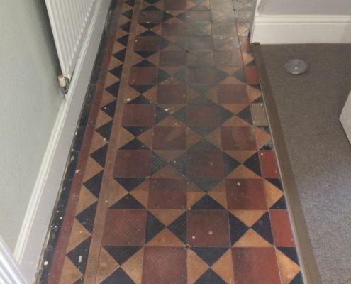 Victorian Hall floor in Ashbourne Derbyshire before