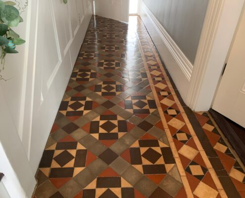 Victorian Minton Floor Stripping, Cleaning, Sealing & Polishing, Sutton Coldfield, West Midlands, after