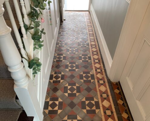 Victorian Minton Floor Stripping, Cleaning, Sealing & Polishing, Sutton Coldfield, West Midlands, before
