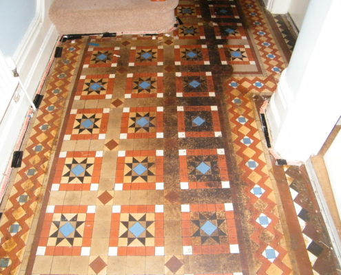 Victorian Minton Hall floor before cleaning in Buxton Derbyshire before cleaning
