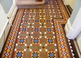 Victorian Minton Hall floor in Buxton Derbyshire after cleaning and sealing