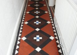 Victorian Minton tiled hall floor in Uttoxeter after cleaning and sealing