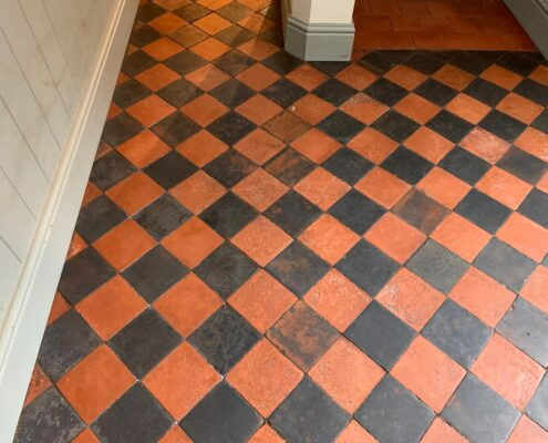 Victorian Quarry Tile Stripping, Cleaning and Sealing in Rugby, Warwickshire after