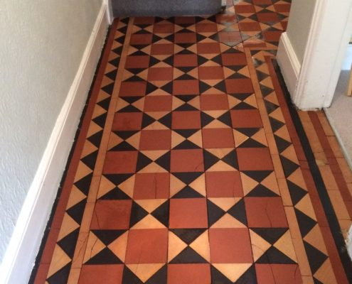 Victorian hall floor in Ashbourne Derbyshire after