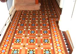Victorian hall floor in Leek Staffordshire after cleaning and sealing