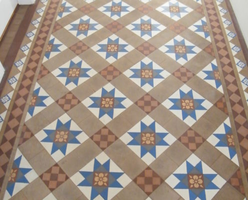 Victorian hall floor in Stone Staffordshire before cleaning and sealing