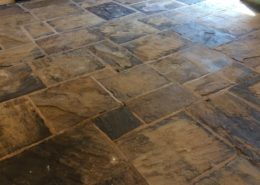 Yorkstone Flagstone floor in Glossop High Peak Derbyshire after cleaning and Sealing