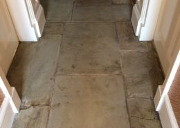Yorkstone Flagstone hall floor in Matlock Derbyshire after cleaning