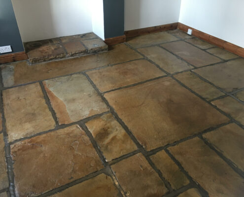 Yorkstone floor cleaning in Hayfield, High Peak, Derbyshire after cleaning and sealing