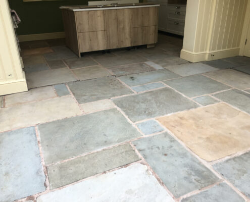 Yorkstone kitchen floor in Ollerton, Cheshire after cleaning